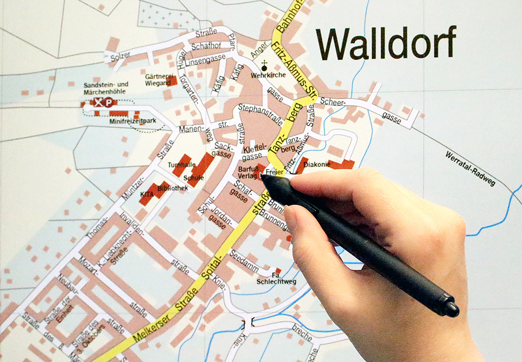 Karte, Hand mit Stift