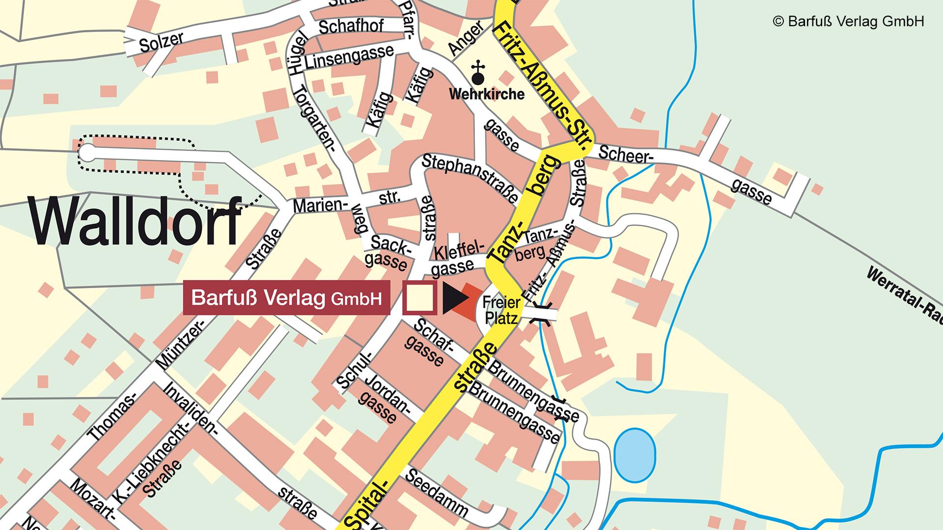 Karte Walldorf mit Marker auf Barfuß Verlag GmbH