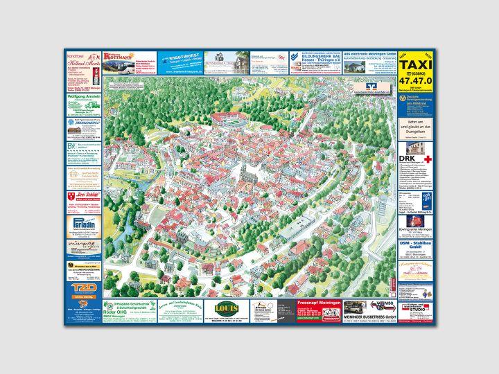 Panoramakarte Meiningen, Rückseite